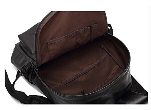 LAIDAYE Schultern Herrenmode Lässig Im Freien Reiserucksack Pu Schultertasche Rucksack Reisetasche Black