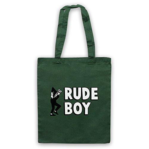 Rude Boy Jamaican Street Culture Slogan Umhangetaschen Dunkelgrun