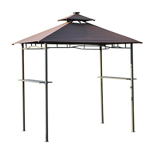Outsunny 2 Etagen BBQ Zelt 4 LED Strips Outdoor Terrasse Himmel Party Pavillon Shelter W/Solar...