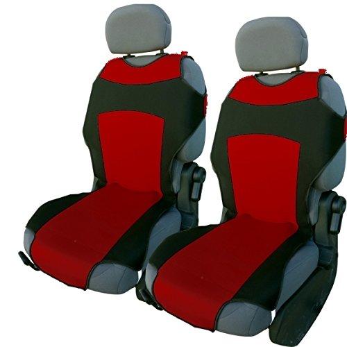 Akhan CSC301 - 1 Paar (2 Stück) Sitzbezug Sitzauflage Sitzschoner Schwarz / Rot