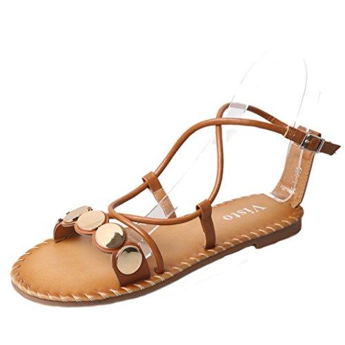BZLine® Frauen Kreuz Riemen Römische Sandalen Casual Flat Bottom Sandalen Braun