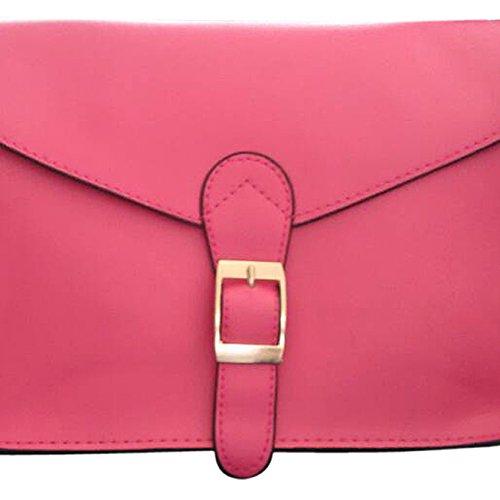 TOOGOO(R) Cartella di alta qualita del sacchetto di spalla del sacchetto di busta dellannata di stile del sacchetto del messaggero delle donne giallo rosa scuro