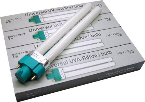 Professional Products 9 Watt UVA-Röhre für Lichthärtungsgeräte Universal 4er Pack (4 x 1 Stück)