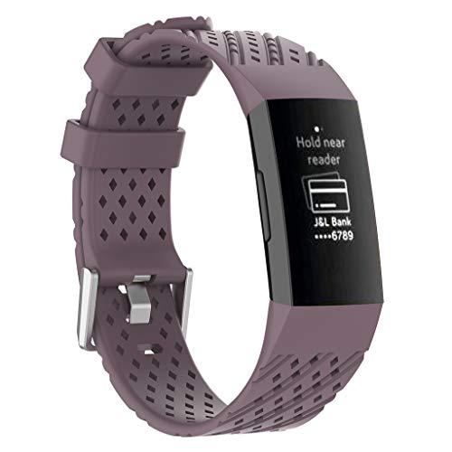 Mumuj Soft Silikon Armband, Silikonhülle Band Sports Ersatzband Atmungsaktiv mit Screen Protector und Ladegerät Verschleißfest Uhrenarmband Für das Fitbit Charge3 (Lila) (Leder Protector Für Watch Band)