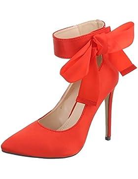 Ital-Design High Heel Pumps Damenschuhe High Heel Pumps Pfennig-/Stilettoabsatz High Heels Klettverschluss Pumps