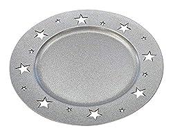 Platzteller Deko Ø 33 cm mit Sternen - Silber - 4 Stück