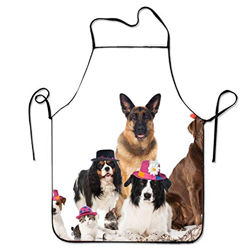 SHALLY Dogs Cats Rabbits with Carnival Hats Adjustable Kitchen Aprons for Adult
