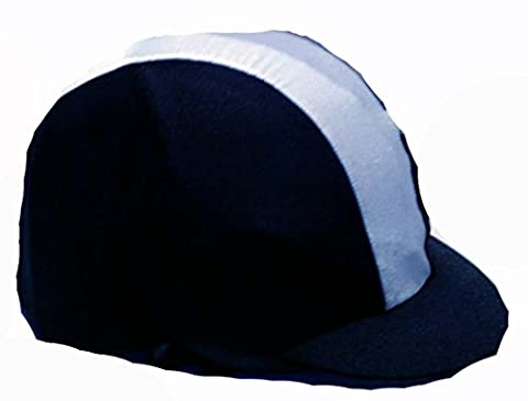 Black with pale blue stripe Equestrian / Horse Riding Hat cover - ONE SIZE FITS ALL