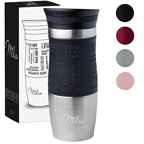 Milu Thermobecher Isolierbecher Kaffeebecher to go - 370ml 100% Auslaufsicher - Trinkbecher aus Edelstahl - Autobecher doppelwand Isolierung - Thermo Becher - Travel Mug - Schwarz