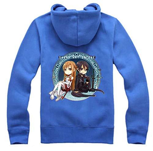 Asuna Blau Kostüm - Cosstars Sword Art Online Kirito SAO Anime Hoodie Jacket Cosplay Kostüm Zipper Pullover Jacke Outwear Sweatshirt Mantel Rot-8 L