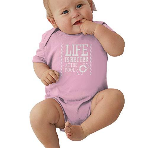 Queen Elena Baby Body mit Aufschrift Life is Better at The Pool, Einteiler aus Reiner Baumwolle Gr. 12 Monate, Rose -