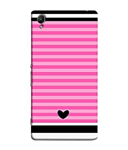 Sony Xperia Z5 Premium, Sony Xperia Z5 4K Premium Dual Back Cover Black Colour Heart With Pink Shade Lines Design From FUSON
