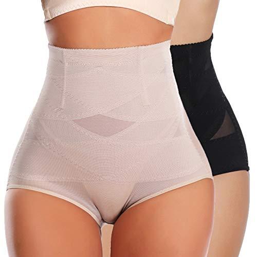 SLIMBELLE Hohe Taille Figurenformend Miederhose Figur Shaping Formslip Taillenformer Taillenmieder Tailenslip für Damen Große Größen-2 Pack-XL -