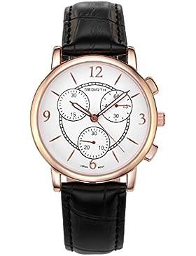 JSDDE Uhren,Vintage Einfaches Armbanduhr Wasserdicht Mineralglas unecht Chronograph Echt Lederarmband Quarz Uhrwerk...