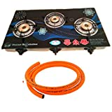 SunGlain Stainless Steel Toughened Glass 3 Burner Blue Automatic Gas Stove with 1.2mtr Hose Pipe