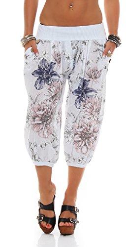 ZARMEXX Damen Caprihose Haremshose 3/4 Hose All Over Print Sommerhose Knickebocker Pumphose Weiß