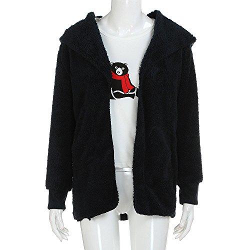 Vêtements LILICAT Manteau la fausse fourrure de longs manteaux de mode pull blouson Veste Cardigan tempérament des femmes de porter le foulard Black