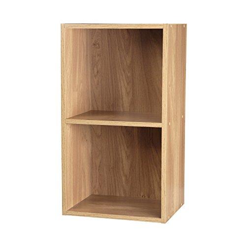 2 Regal Bücherregal Eiche (TOP Marques Collectibles 1, 2, 3, 4Etagen Holz Bücherregal Regalsystem Display Aufbewahrung Holz Regal Böden Einheit, Eiche, 2 Ablagefächer)