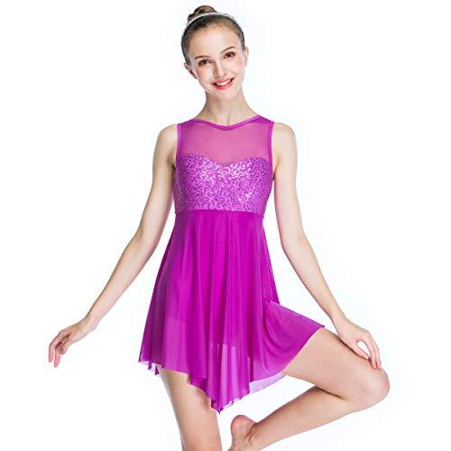 MiDee Illusion Süße Pailletten Tank Top Cut Rock Lyrischen Kleid Tanzen Kostüm (LC, (Tanz Kostüme Tippen)