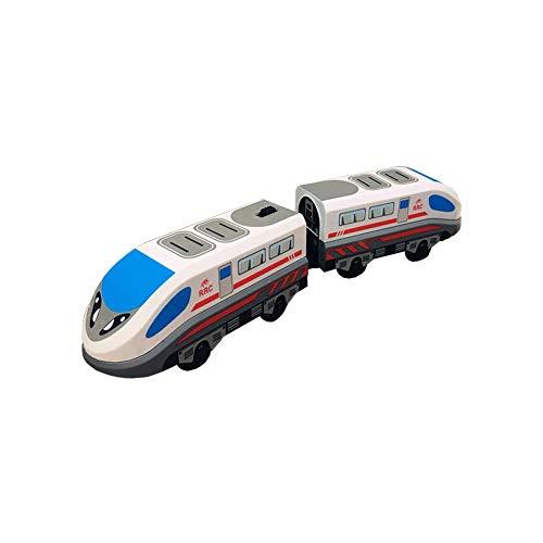 Hearthrousy Train Modèle pour Enfants Train Electrique Grande Vitesse Jouet Locomotive Compatible Voie en Bois pour Garçon Fille