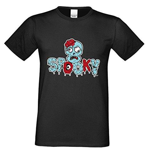 Spooky ::: Lustiges Halloween-Kostüm-Fun-Sprüche-T-Shirt für Herren Teenager Party-Outfit-Bekleidung auch Übergrößen Farbe: schwarz Schwarz