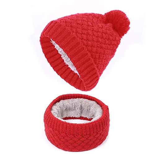 HAOLIEQUAN Fashion Ladies Pompom Knit Beanies Scarf Woman Soft Cap Scarves Winter Woman's Hat Plus Velvet Thickening Women,Crimson - Crimson Knit Beanie