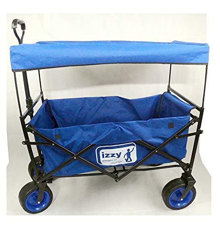 Izzy Bollerwagen faltbar Dach Luftbereifung Strand 80kg, Faltbarer Transportwagen Picknickwagen Kohlfahrt Karneval (blau - Bremse - Breitreifen - Dach, 100 x 57,5 x 78 cm)