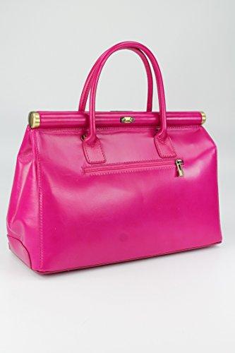 BELLI® The Bag XXL ital. Premium Leder Handtasche Henkeltasche - 38x26x18 cm (B x H x T) Fuchsiapink