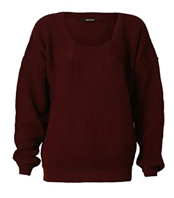 Womens Long Sleeves Knitted Baggy Style Oversize Plain Jumper Sweater / One Size -£11.99 (One Size (Fits UK 8-14), Wine)