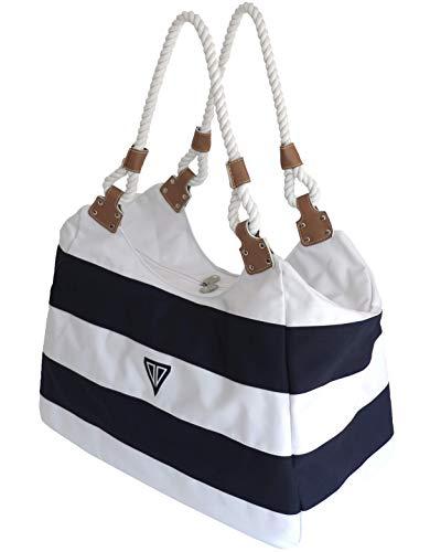 WildStage XL Strandtasche groß mit Reißverschluss und Innentasche 45x24x36 cm, Damen Shopper groß, schultertasche, Weekender, Saunatasche in blau/weiß - Groß Reißverschluss