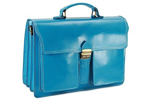 Belli sac à main design ® «b» étui attaché-case en cuir unisexe couleur au choix :  40 x 30 x 14 cm (l x h x p) bleu clair