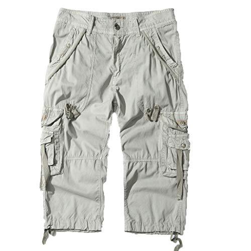 Shorts Herren Reißverschlusstaschen Pure Farbe Draußen Strand Beiläufig Arbeit Cargo Hose (Herren-boot-kleid)