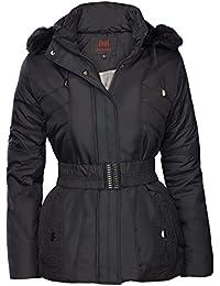 Mujer Chaqueta de invierno acolchado aspecto de plumas con capucha Esquí Chaqueta Abrigo Corto