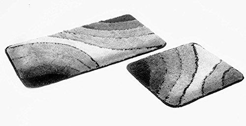 FD-Workstuff 2- teiliges Badematten Set Sliding-Wave Grau I Badvorleger 50x90, WC Vorleger 50x45 cm I Garnitur I Teppich I Badezimmer I Matte I Badematte I Vorleger …