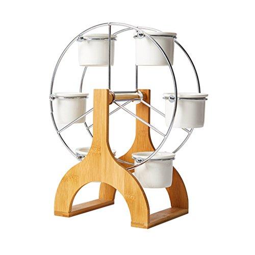 Unbekannt BOBE Shop Kreative einfache Sukkulente Töpfe, 5 Mini Keramik Töpfe + Windmühlen Regal, Indoor-Desktop-Dekoration -