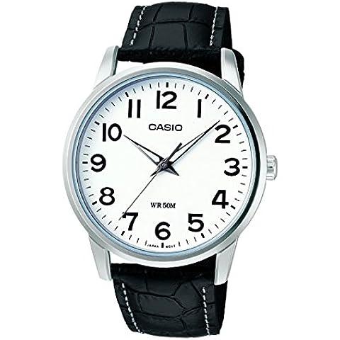 CASIO Collection MTP-1303L-7BVEF - Reloj de cuarzo con correa de cuero para hombre, color blanco / negro