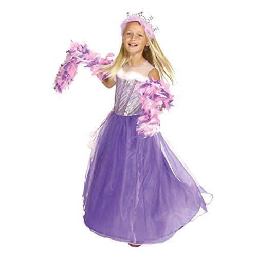 Kostümplanet Prinzessin-Kostüm für Kinder mit Kleid und Krone bzw. Krönchen, Tiara, Größe: 128, Farbe: violett-rosa, Dornröschen, Cinderella Verkleidung für Karneval, Fasching, Halloween - Mädchen Prinzessinnen-Kostüm