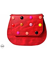 Sceva Casual PU Leather Red Color Cross Body/Sling Bag With Adjustable Compartment & Strap For Women & Girls