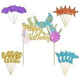 Juego de decoración de pastel de sirena, 1 inserto de pastel de cumpleaños + 20 decoraciones de fiesta de cumpleaños