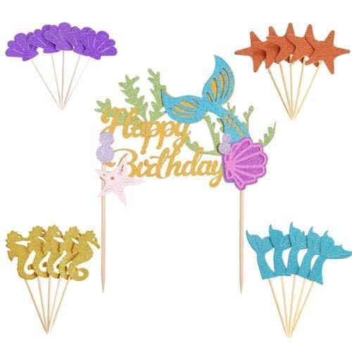 Meerjungfrauen-Dekorations-Set – 1 Packung Glitzer Meerjungfrau Happy Birthday Kuchen-Dekoration + 20 Cupcake-Topper für Babyparty Geburtstag Party Supplies