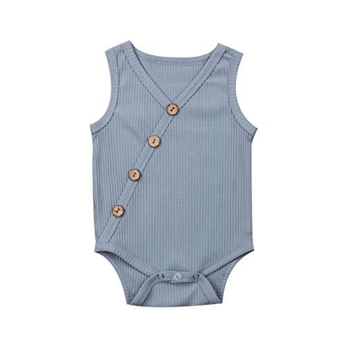 Zylione Kinder Onesies Baby Ärmellos Normallack gestreift Buttons Hafu Klettern Kinder Tagesgeschenke