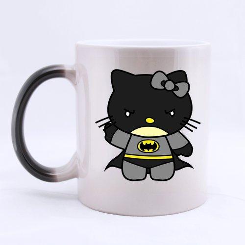 LaHuo Cat Hero Hello Kitty Batman Morphing Mug Color Changing 11 OZ Ceramic Mug Cup