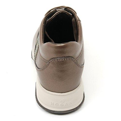 Hogan B9376 sneaker donna INTERACTIVE scarpa H strass marrone chiaro shoe woman Marrone chiaro