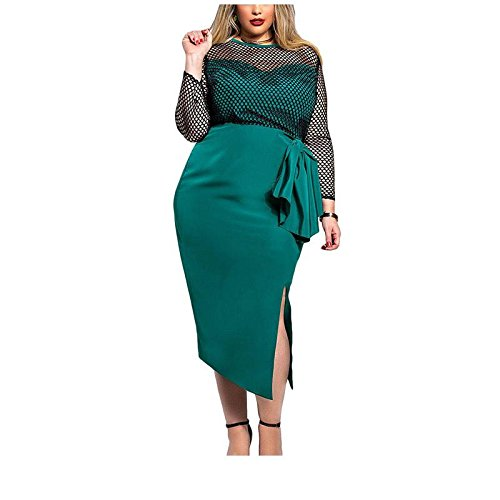 Erica Femmes Plus Size Casual / Going Out ronde à manches longues Side Slit Patchwork robe fourreau Green