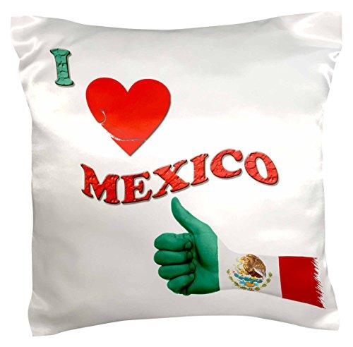 rinapiro–Quotes–I love MEXIKO. Mexikanische Flagge. Sprichwort.–Kissen Fall, Satin, weiß, 41 x 41 cm