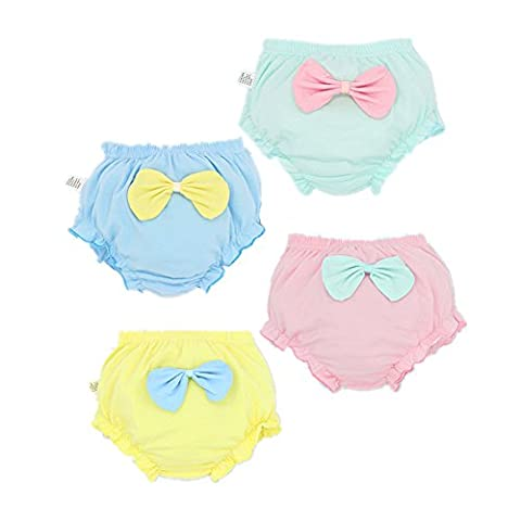 JIEYA 3-pack or 4-pack Baby Girls Underwear Toddler Candy Color Bow-knot Panties-Assorted color (Tag size 100(Suggest 2-3year),