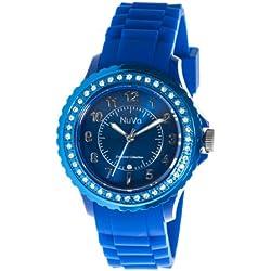 Nuvo - NU157 - Armbanduhr für Damen - Quartz - Analog - Blaues Armband aus Silikon - Blaues Zifferblatt - Swarovski Elemente und Diamanten - Modisch - Elegant - Stylish