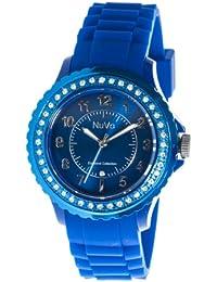 Nuvo - NU157 - Montre Femme - Quartz - Analogique - Bracelet Silicone Bleu - Cadran Bleu - Swarovski elements et diamant
