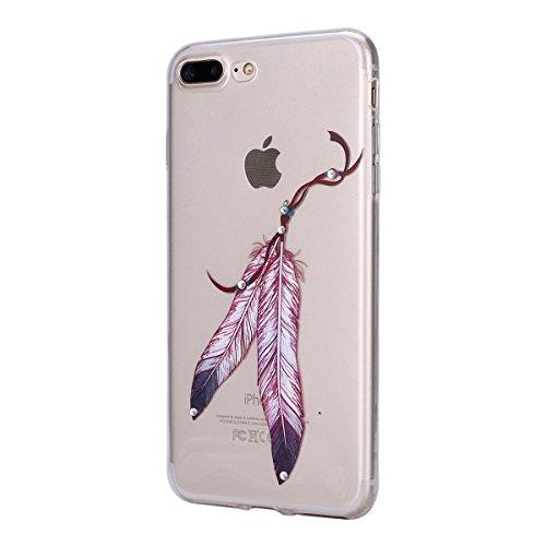 iPhone 7/iPhone 8 Coque Coquille en Silicone Transparente Housse Etui iPhone 7 /iPhone 8 Pink Rose Romantique Élégant Beau Fleurs de Cerisier Motif Ultra Mince Thin Flexible Doux Caoutchouc Couverture Plume 2