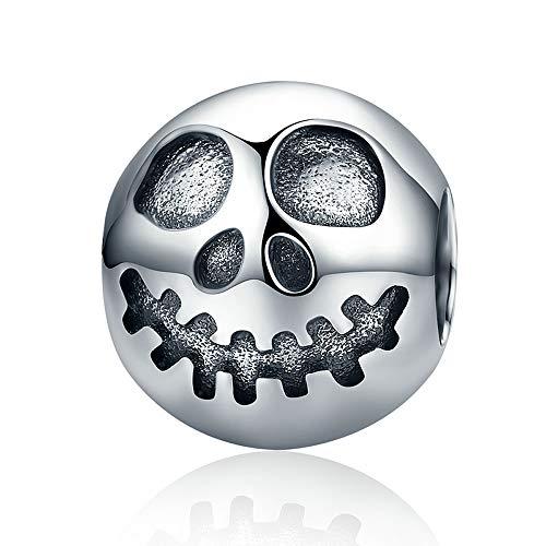 nkopf-Gesicht, 100% 925 Sterlingsilber, für Armbänder und Halloween-Geschenk ()